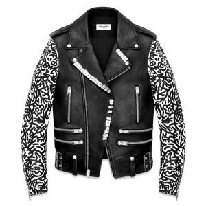 サンローラン-袖切り替えライダースジャケット