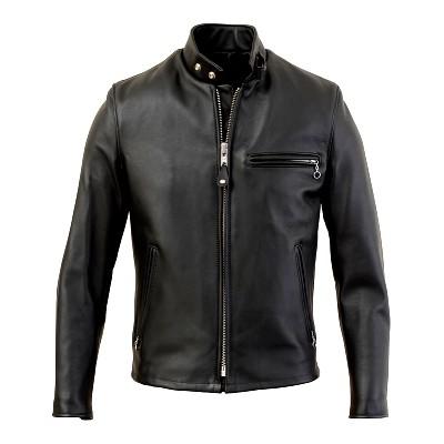 襟なしのシングルライダースジャケット