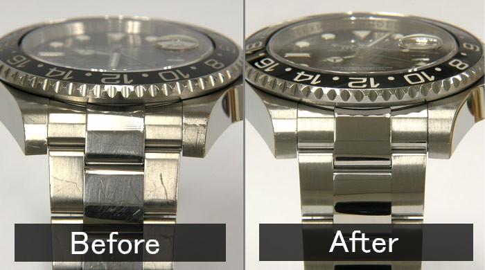 befoe-傷だらけの腕時計。after-研磨して綺麗になった腕時計。